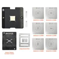 Universal EMMC UFS reboleo de plataforma plantilla con BGA153 BGA162 BGA169 BGA186 BGA221 BGA254 Kit de plantilla de Reballing de BGA, 0,15 MM