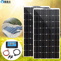 Flexible Solar Panel kit complete 200w 100W Solar Charger 12v mono solar cell for RV car boat caravan truck 1000w home system pv