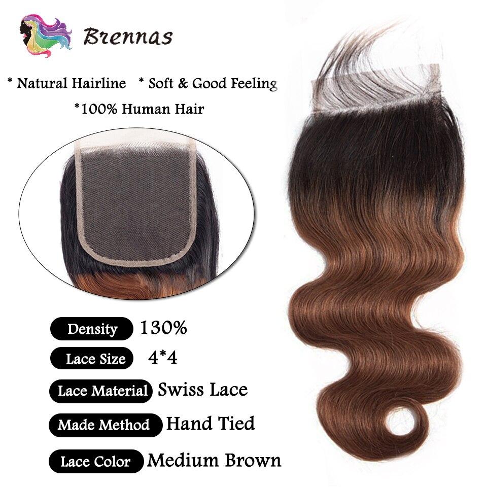 Image 4 - Brennas ciało fala wiązki ludzkich włosów z zamknięciem Ombre 1b30 włosy wyplata z 4*4 zamknięcie koronki brazylijski nie Remy włosy niski stosunek3/4 pasma z siateczką   -