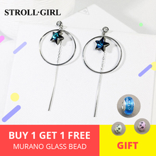925 sterling silver long circle drop dangle big earrings of Blue Cubic Zircon Star for women fashion jewelry New arrival 2019 цена