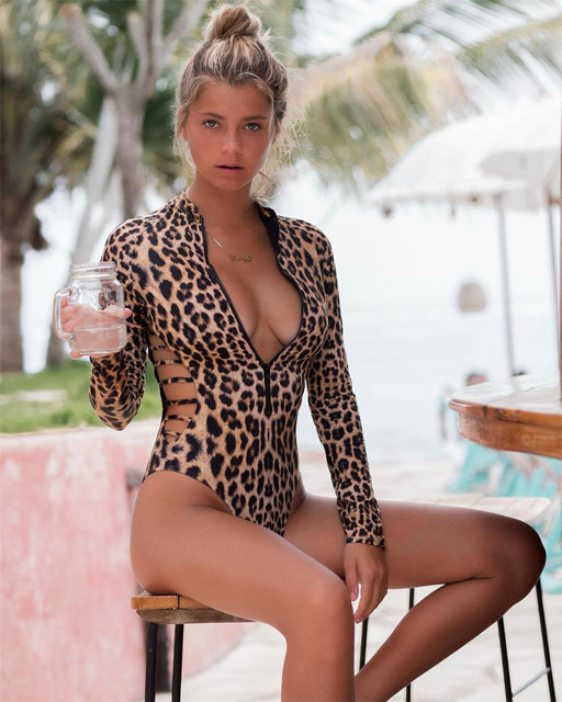 Long Sleeved, Rash Guard, Snake Skin, Leopard Print, Zippered One Piece Swimsuit 16