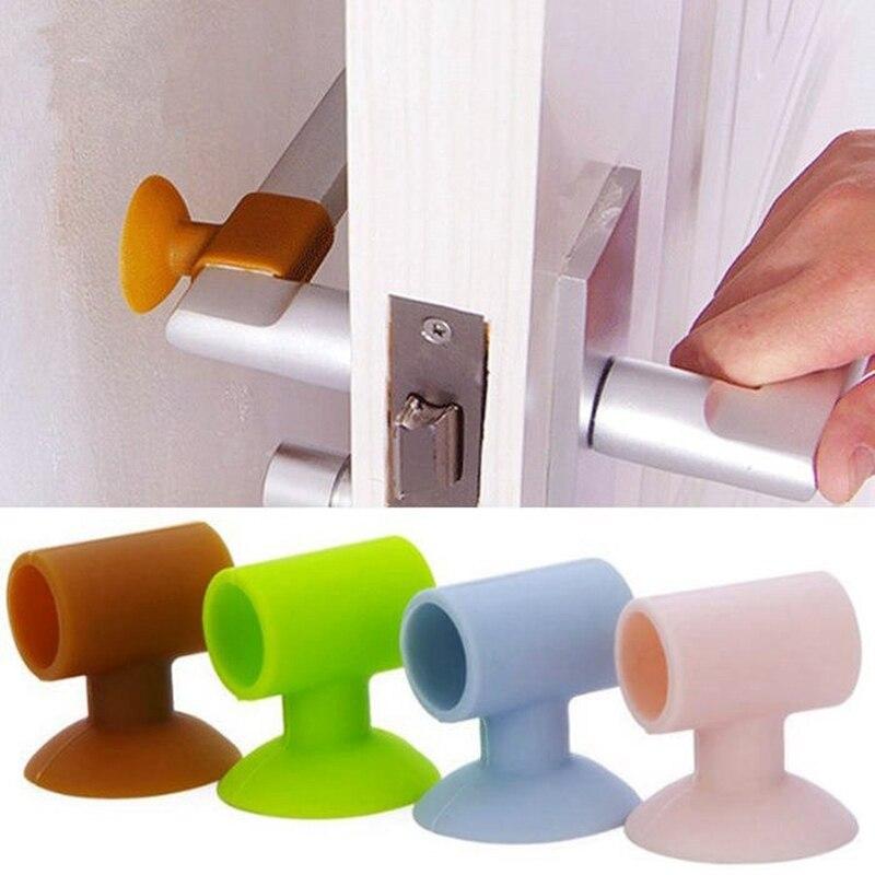 8 Pcs Random Color Door Handle Shockproof Pad Mute Door Handle Bumper Lock Protector Crash Wall Protector Door Plug Door Accesso