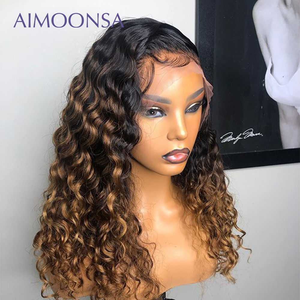 Honey Blonde Lace Front Wigs 360 Lace Frontal Wig Pre Plucked With Baby Hair Ombre Human Hair WigPonytail Mongolian Kinky Curly