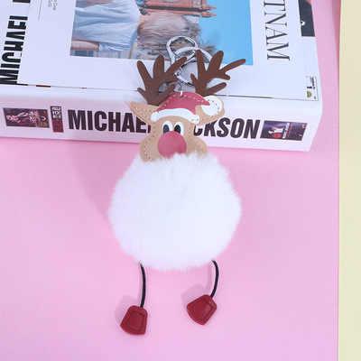 Versão coreana do anel chave de Natal alces de pelúcia pele bolsa pingente bola de cabelo cadeia chave do carro da moda Llavero fluff