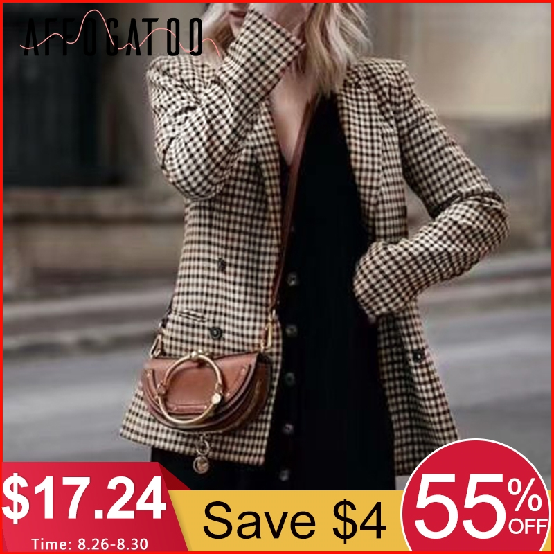 Jacket Blazer Long-Sleeve Slim Female Autumn Double-Breasted Fashion Women Casual Affogatoo