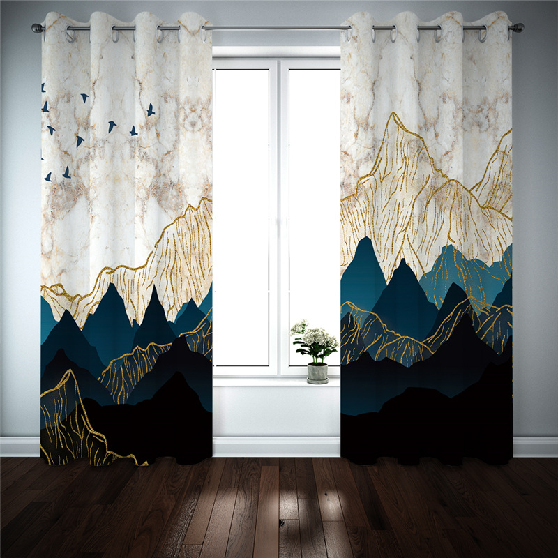 Luxury Curtains Large Living Room Bedroom Curtains Mountain Scenery Photo Printing Drapes Cortinas Modern Kitchen Curtain