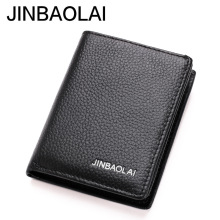 JINBAOLAI Brand Men Pocket Wallets Genuine Leather Credit ID Cardhodler Case Driving License Wallet Men's Purse Cartera Mujer