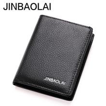 JINBAOLAI Brand Men Pocket Wallets Genuine Leather Credit ID Cardhodler Case Driving License Wallet Men's Purse Cartera Mujer