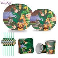 цена на FENGRISE Animal Paper Plate Jungle Party Supplies Safari Jungle Birthday Party Decoration Kids Safari Jungle Party Baby Shower