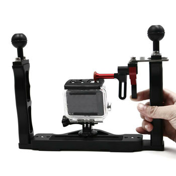 Aluminum Alloy Stabilizer Tray Rig Diving Mount for Underwater Camera Housing Dual Handheld 1/4 inch Screws