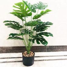 80CM 18 fourche artificielle Monstera bouquet Tropical vert Palnts branche magasin fleur hôtel bureau nouvel an décor à la maison accessoires