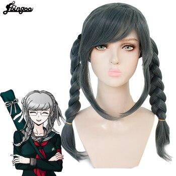 【Ebingoo】Cap+Danganronpa Dangan-ronpa Peko Pekoyama Double Braided Dark Grey Synthetic Cosplay Wig for Halloween Costume Party недорого