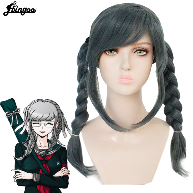 Ebingoo Cap+Danganronpa Dangan ronpa Peko Pekoyama Double Braided Dark Grey Synthetic Cosplay Wig for Halloween Costume Party