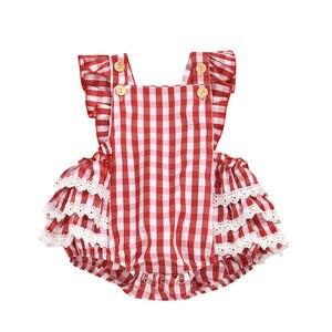 0-24 m bonito bebê recém-nascido meninas bodysuits doce meninas quadrado pescoço outfits plissado vermelho xadrez laço macacão sunsuit trajes do bebê
