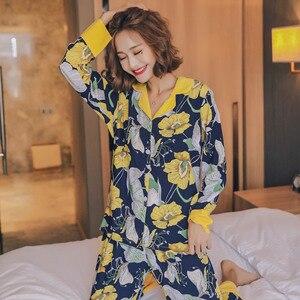 Image 1 - JULYS SONG  Woman Fashion Printing Pajamas Cotton Womens Trousers Pajamas Set Casual Large Size Soft Floral Sleepwear Suit