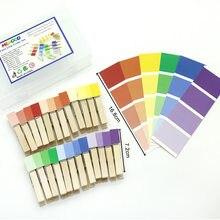 Montessori madeira cor triagem clipes jogo brinquedos educativos para crianças cor aprendizagem brinquedos sensoriais juguetes montessori k0644h