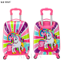 Trolley Luggage Bag-Carry Wheels Cabin Cartoon Suitcase Children's Cute Gift Animal 18inch
