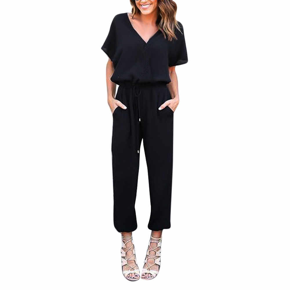 38# Women High Waist Rompers Wide Leg Pants Backless Playsuit Romper V-neck Jumpsuit Short Sleeve Casual Simple Pants Jumpsuit