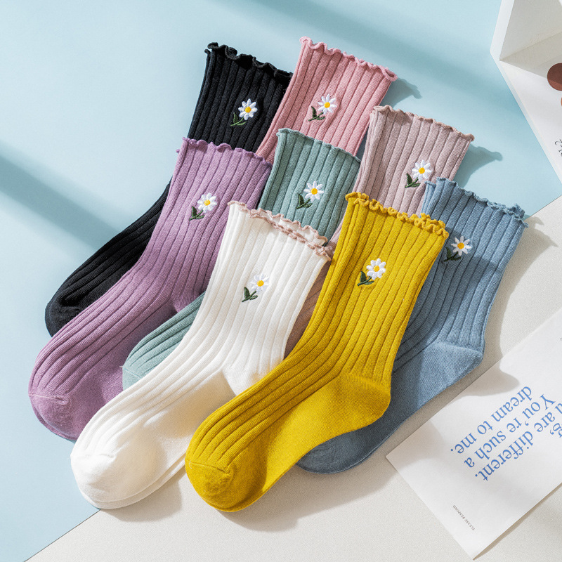 Women's Liitle Flower Socks Girl's Socks Simple Solid Color Socks Korean Style Women's Long Socks Kawaii Happy And Funny Socks