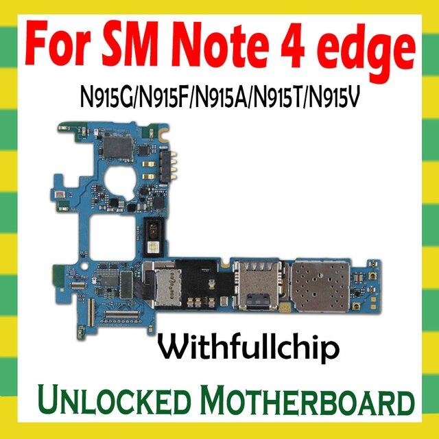 Original Unlock Motherboard For Samsung Note 4 edge N915F N915G N915A N915T N915V Full Chips Logic Board OS Unlocked Mainboard