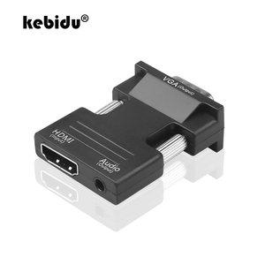 kebidu HDMI Female to VGA Male Converter with Audio Adapter Support 1080P Signal Output Convertor with Audio Cables