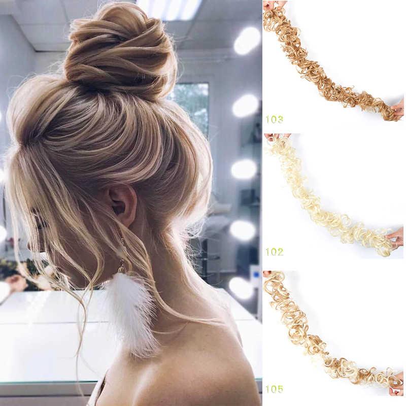 แฟชั่นเส้นใยทนความร้อนผู้หญิงสีดำสีน้ำตาลยาง Band Curly Chignon UPDO Hairpieces สังเคราะห์ Bun extension