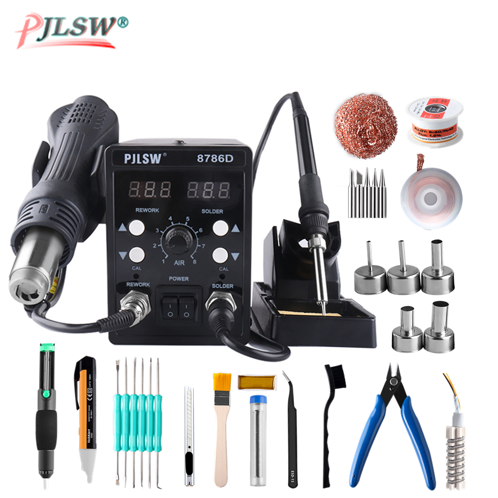 PJLSW 8786D Electric Soldering Irons +Hot Air Gun Better SMD Rework Station Upgraded 8786D