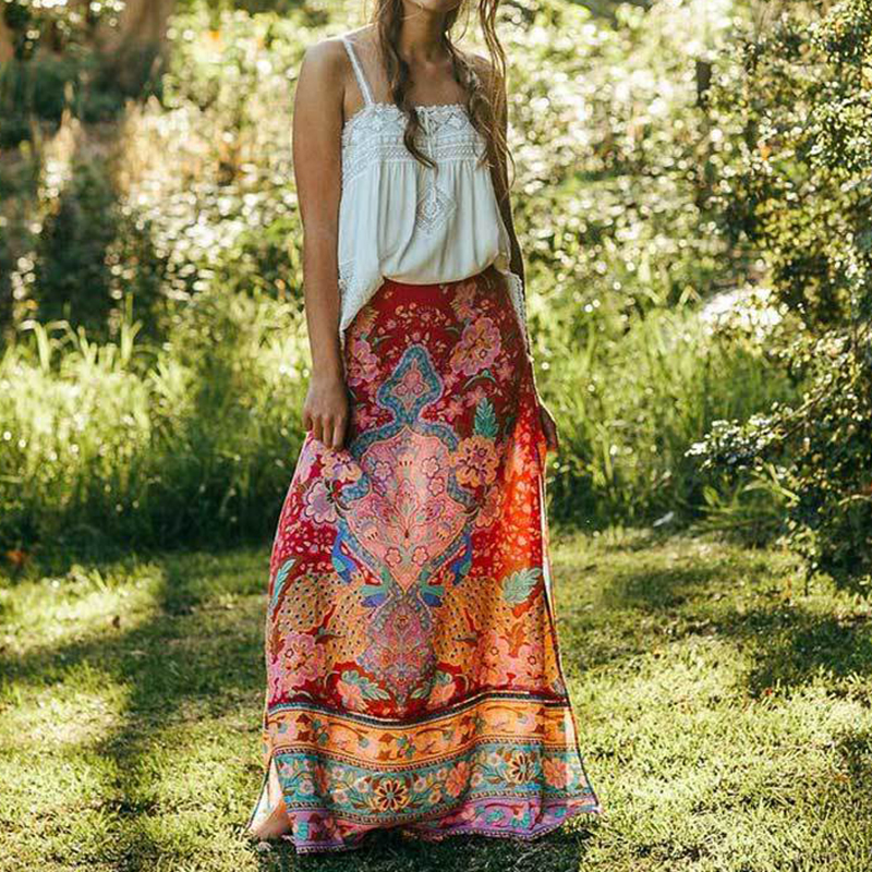 Gypsylady Summer Maxi Skirt Floral Print Lotus Bohemian Hippie Long Skirts For Womens Split Vintage Boho Chic Beach Skirt Cloth