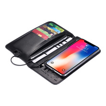 2019 New Men Wallet Multifunction Hand Holding Charging Wallet Business Clutch Bag Long Section Coin Purse three fold wallet long section of new leather embossed clutch bag purse ms bb055