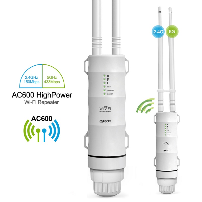 Outdoor WiFi Repeater AC600 Router Amplifier Wi Fi Booster Outdoor AP Wi-Fi Extender WIPS Weatherproof 2.4G+5GHz Access Point