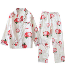 Cartoon Strawberry Printed Spring New Ladies Cute Pajamas Set Comfort Gauze Cotton Loose Thin Cardigan+Pants Women 2Pcs Homewear