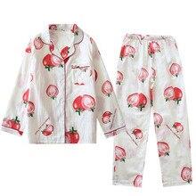 Morango dos desenhos animados impresso primavera novas senhoras bonito pijamas conjunto conforto gaze algodão solto fino cardigan + calças femininas 2 pcs homewear