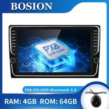 Bosion 1 Din 9 PX6 Universal Android 10.0 4GB+64GB IPS Car Radio Stereo GPS Navigation WiFi 1024*600 with IPS DSP free camera