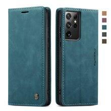 S21 Ultra S 21 5G Étui À Rabat Magnétique En Cuir PU Portefeuille pour Samsung Galaxy S21 Plus S21Ultra Luxe Housse Antichoc