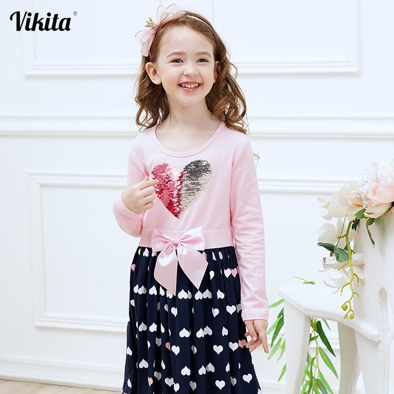 VIKITA Girls Cotton Dress Long Sleeve Children Patchwork Vestidos Kid Dresses For Girls Clothes Toddlers Cartoon Princess Dress