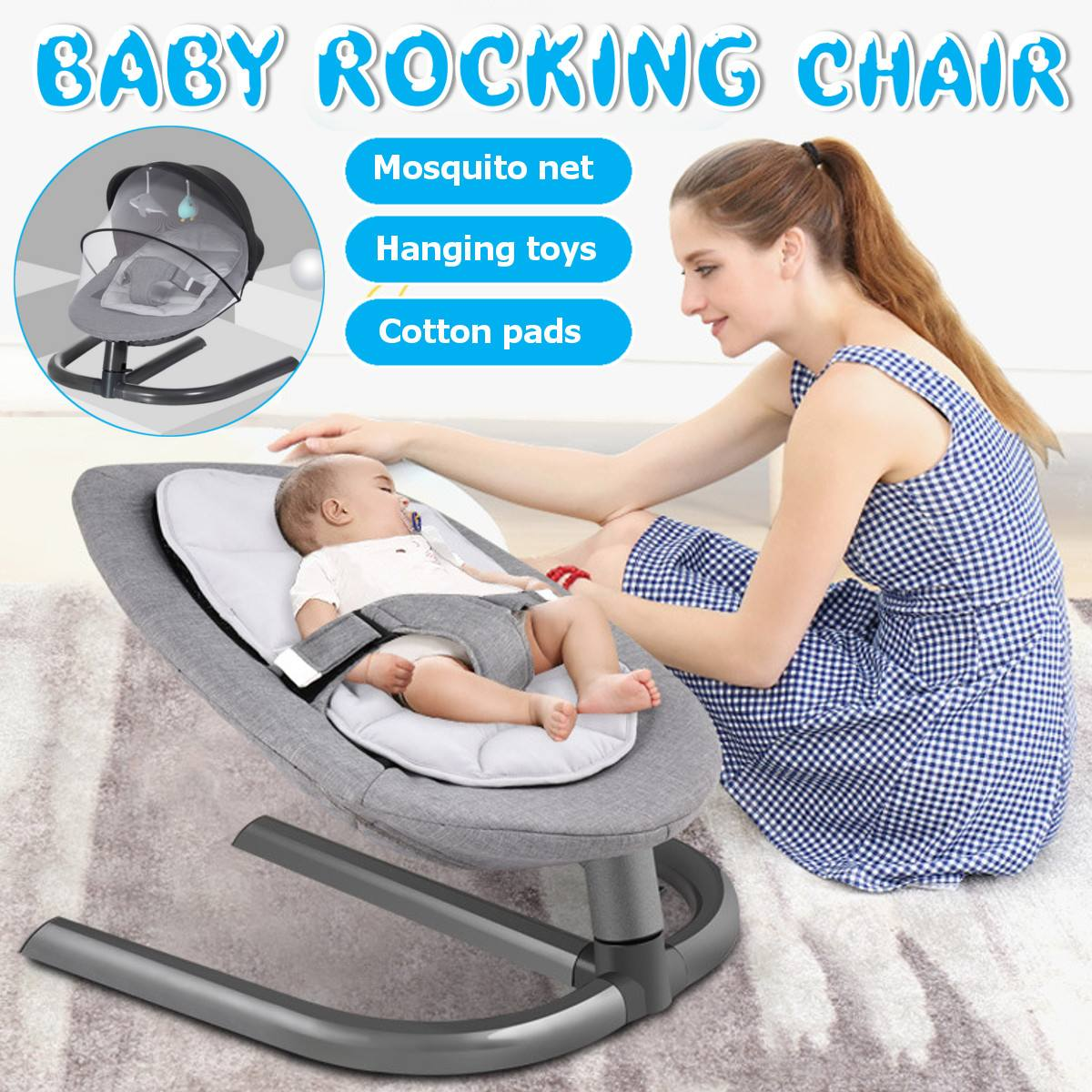 Newborn Electric Swing Multifunctional Baby Bouncer Cradle Rocking Chair With Mosquito Net Cradle Crib Sleeping Safety Newborn Electric Swing Multifunctional  Baby Bouncer Cradle Rocking Chair With Mosquito Net Cradle Crib Sleeping Safety Basket