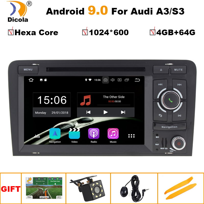 IPS 4 + 64G 6 Core Android 9.0 AUTO DVD GPS Für <font><b>Audi</b></font> <font><b>A3</b></font> 8 P 2003-2012 S3 2006-2012 RS3 Sportback 2011 multimedia player stereo <font><b>radio</b></font> image
