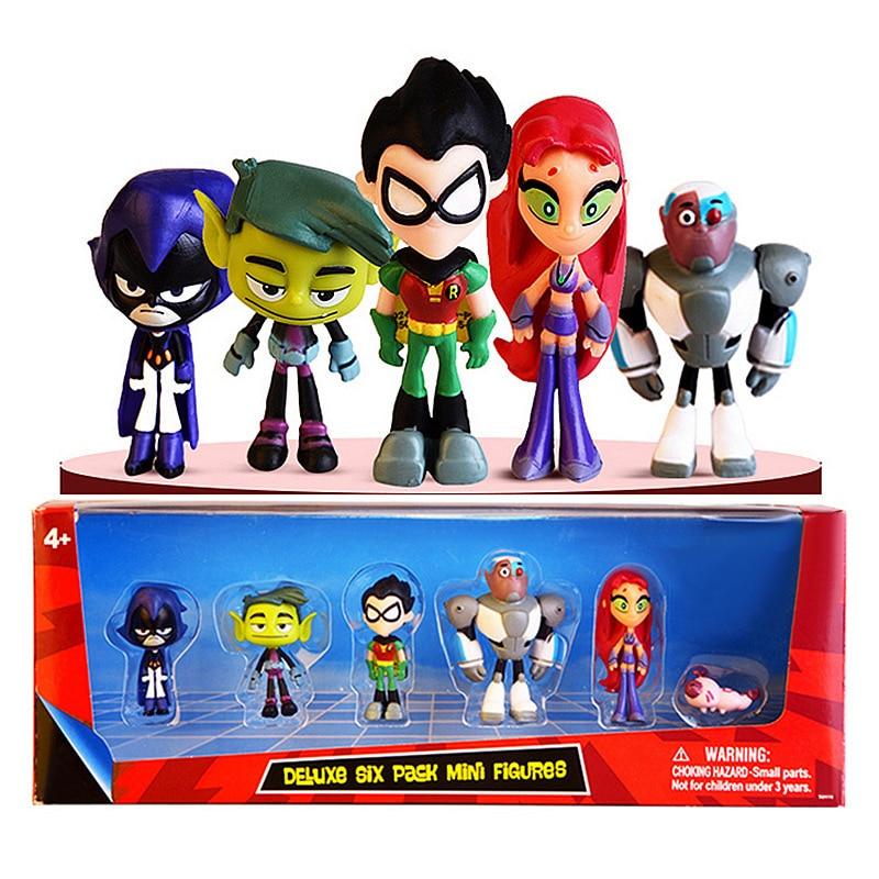 Teen Titans Toys Go 6-Pack Action Figure Robin Beast Boy Raven Cyborg Starfire Silkie Raven Christmas Gift Toys For Children