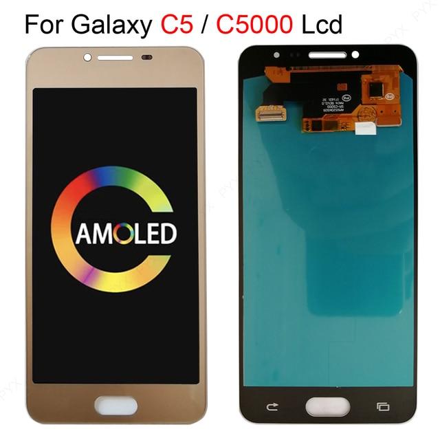 OLED 5.2 لسامسونج غالاكسي C5 C5000 SM C5000 شاشة الكريستال السائل + محول الأرقام بشاشة تعمل بلمس كامل الجمعية ل غالاكسي C5000 LCD