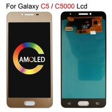 OLED 5.2 עבור Samsung galaxy C5 C5000 SM C5000 LCD תצוגה + מסך מגע Digitizer הרכבה מלאה עבור galaxy C5000 LCD