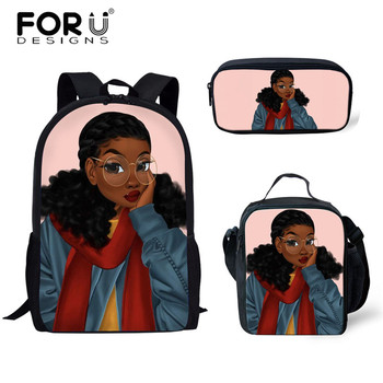 FORUDESIGNS Girls School Bags African Black Girls Hairstyle School Backpack Set Scool Bag For Girl Kids Girl Backpack Junior Bag 16