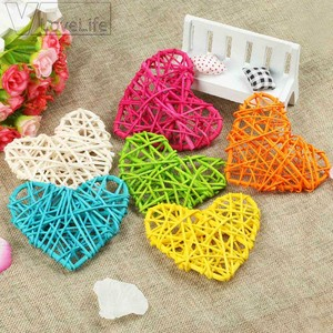 6pcs/10pcs Rattan Heart Sepak Takraw Colorful Rattan Ball Wedding Party Decoration Valentines Day Decor DIY Home Table Supplies