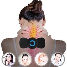 Mini masajeador de cuello eléctrico portátil Ems, Stickers estimuladores de masaje Cervical, instrumento de fisioterapia para aliviar el dolor muscular