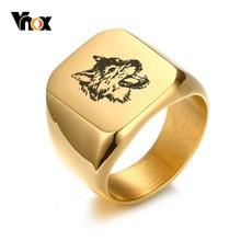 Vnox Stylish Wolf Rings for Men Gold Tone Stainless Steel Biker Men's Signet Ring Free Custom Personalized Engraving