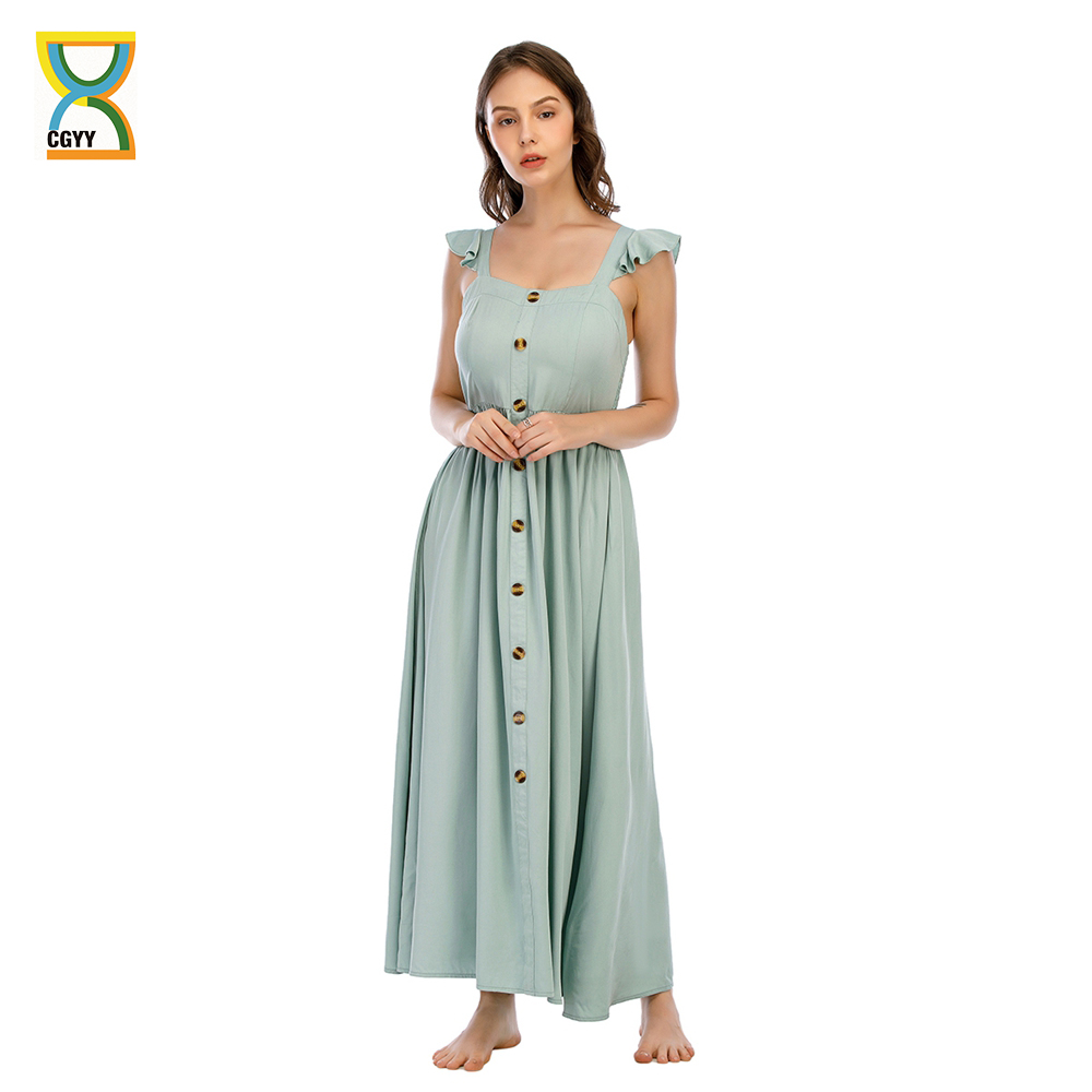 CGYY Vintage Maxi Dresses For Women Summer 2021 Ladies Floral Square Neck Beach Sarongs Women Boho Green Knit Satin Vestidos