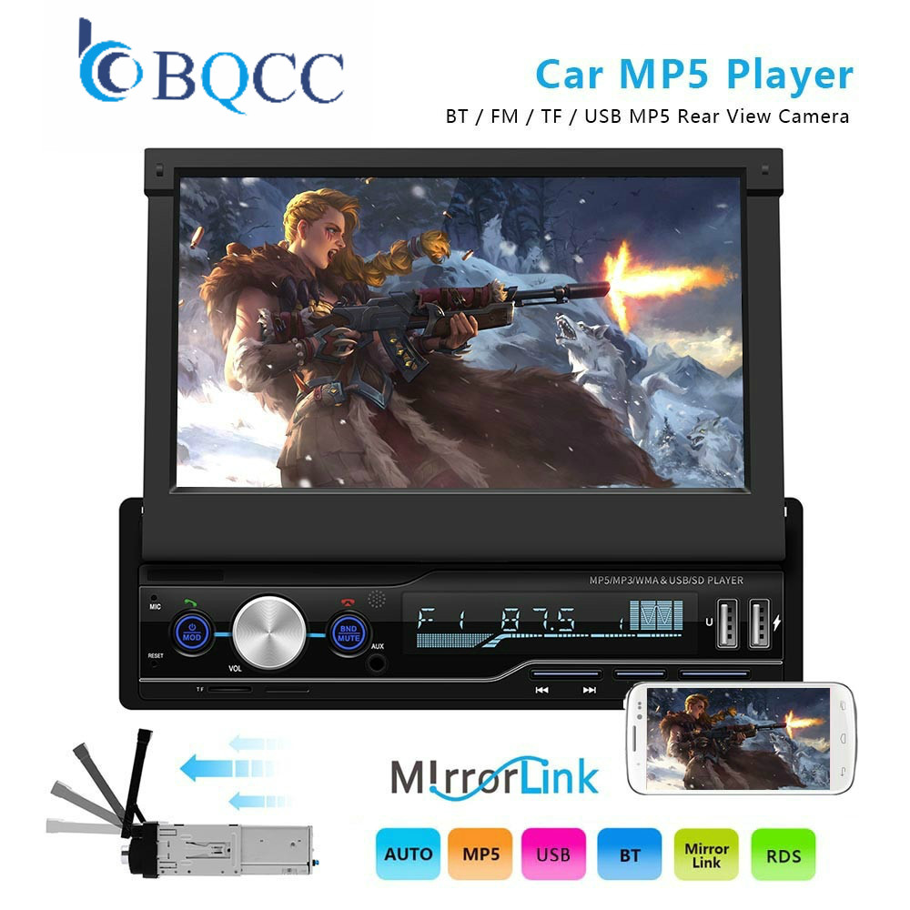 1din 7 Inch HD Touch Screen Car Multimedia Player RDS FM Bluetooth SD Stereo Universal MP5 Player Support Steering Wheel title=