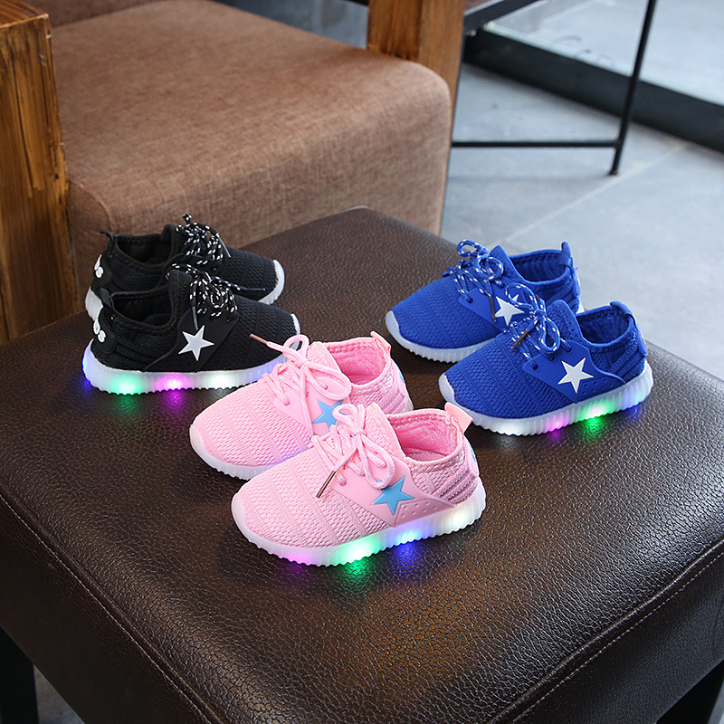 LED Light Shoes Kids Shoes Baby Sneakers For Back Light Girls Shoes Toddler Shoes New Breathable Black/Blue/Pink Casual Shoes