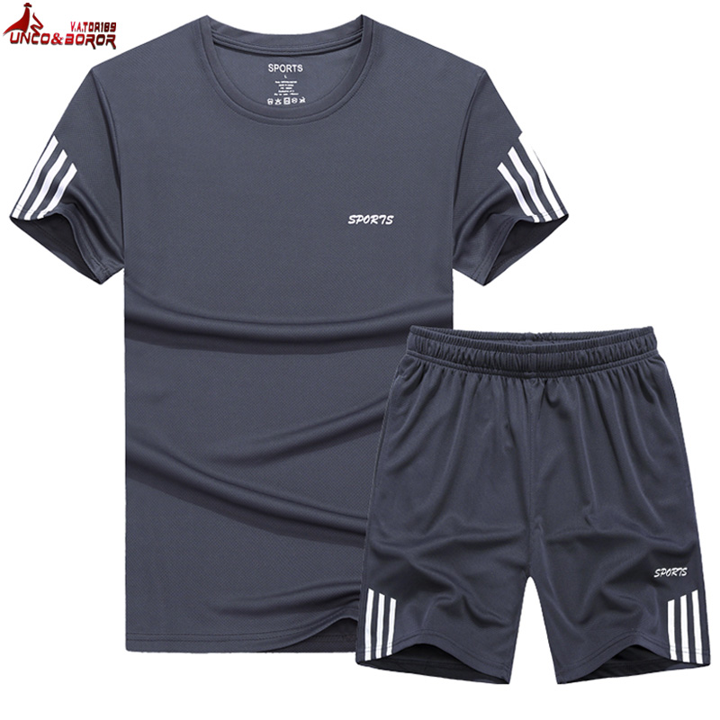 Tracksuit Men M~9XL Summer Men's Sets T Shirts+shorts Two Pieces Running Sport Suit Male Joggering Volleyball Sportswear Clothes