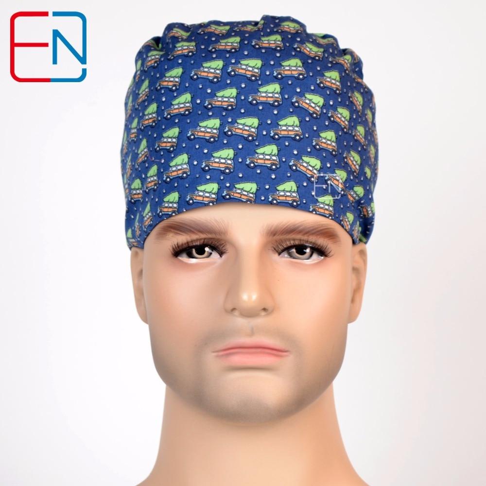 Hennar 2018 Hospital Surgical Cap Men Adjustable Design Nurse Caps Blue Print Cotton Doctor Beauty Medical Medical Accessories