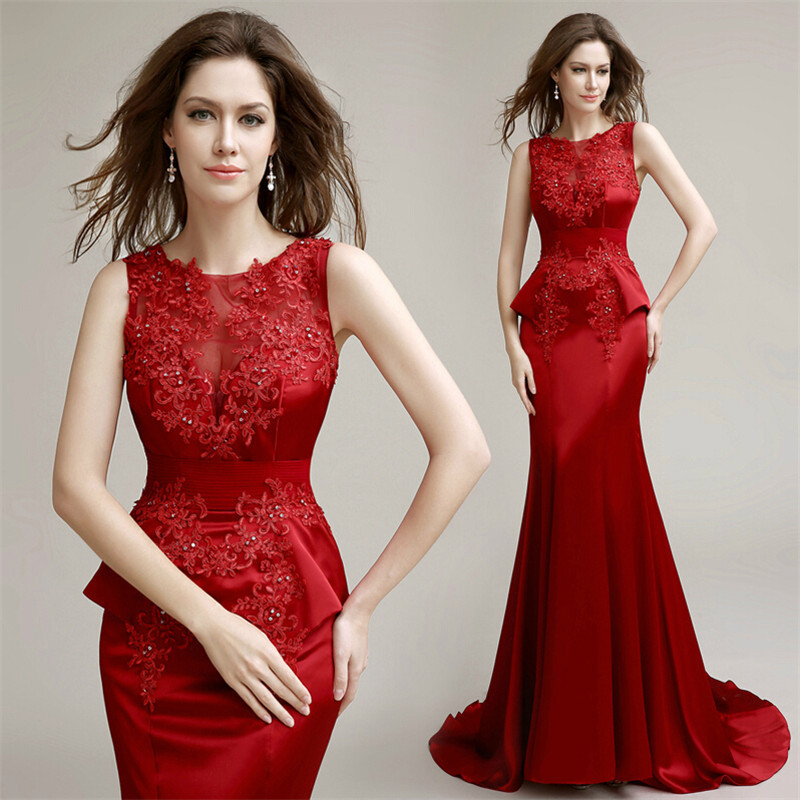 Elegant Red Mermaid Applique Trumpet Prom 2018 Formal Evening Gown Abendkleider Vestido De Festa Mother Of The Bride Dresses